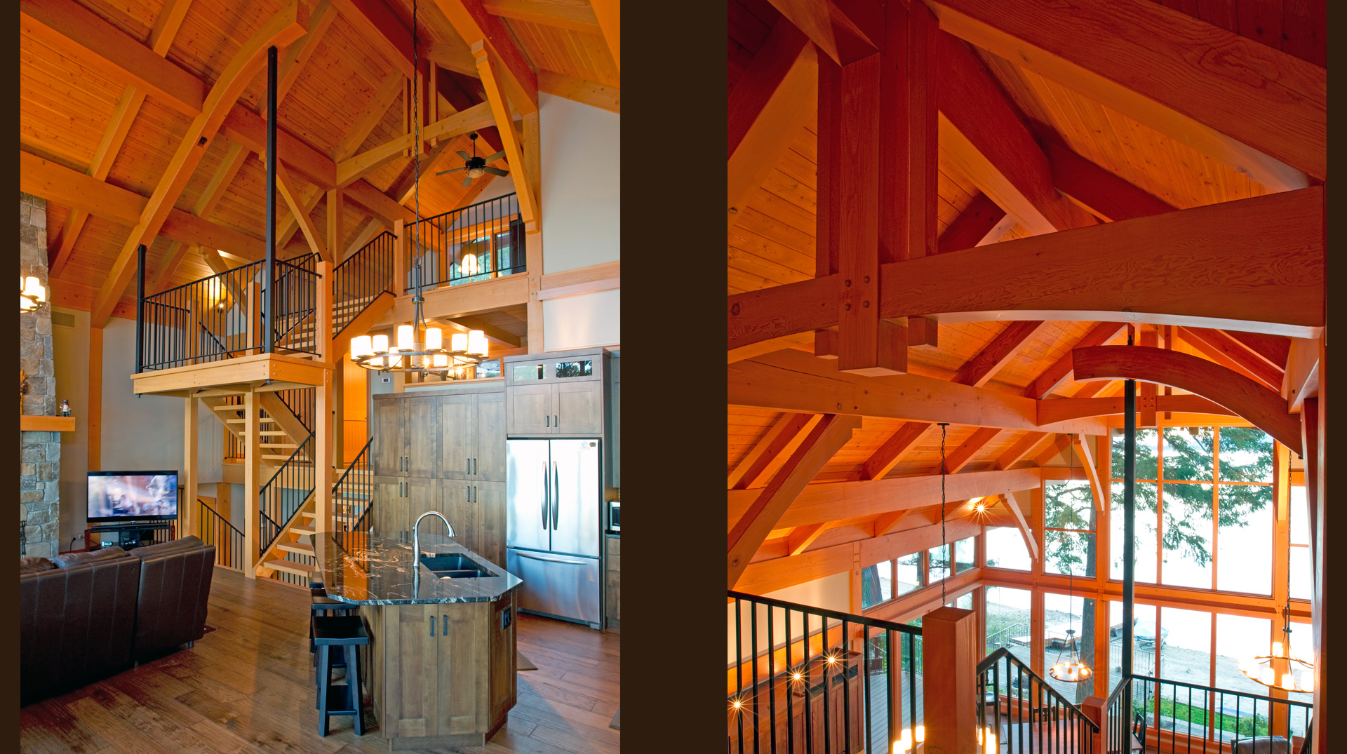 interior timber frame details